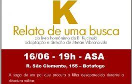 'K. Relato de uma busca' será encenada no domingo (16), com entrada franca