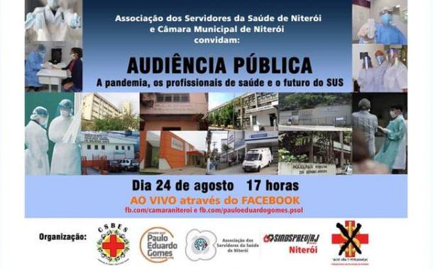 Niterói: dia 24/8, audiência promove debate sobre pandemia, profissionais de saúde e SUS