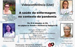 Saúde da enfermagem no contexto da pandemia (covid) é o tema de videoconferência no próximo dia 18/9