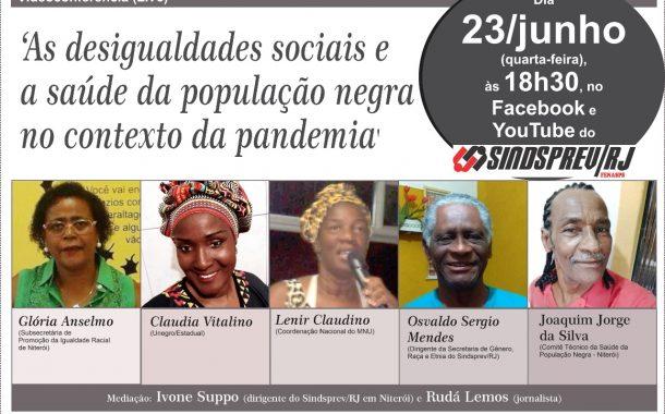 Videoconferência sobre saúde da população negra no contexto da pandemia acontece dia 23/6
